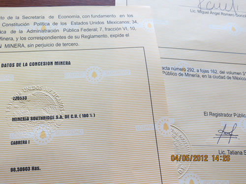 SRGE CINCO MINAS TITLE CERTIFICATES ISSUED BY MEXICAN MINING REGISTRY