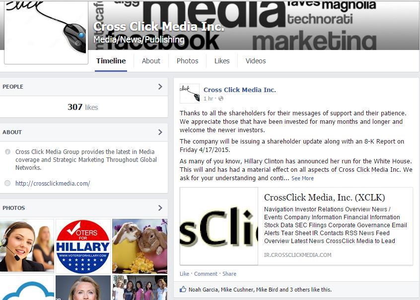 Cross Click Media Facebook Screenshot
