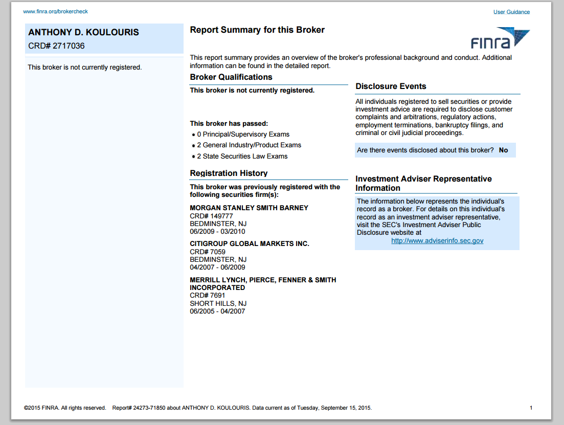 Finra broker check crd number