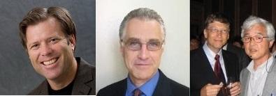 New Quantum Materials Corp. Board Members Daniel Carlson (left), Ray Martin (center) and Scientific Advisory Board Member Tomio Gotoh (right) pictured with Bill Gates.