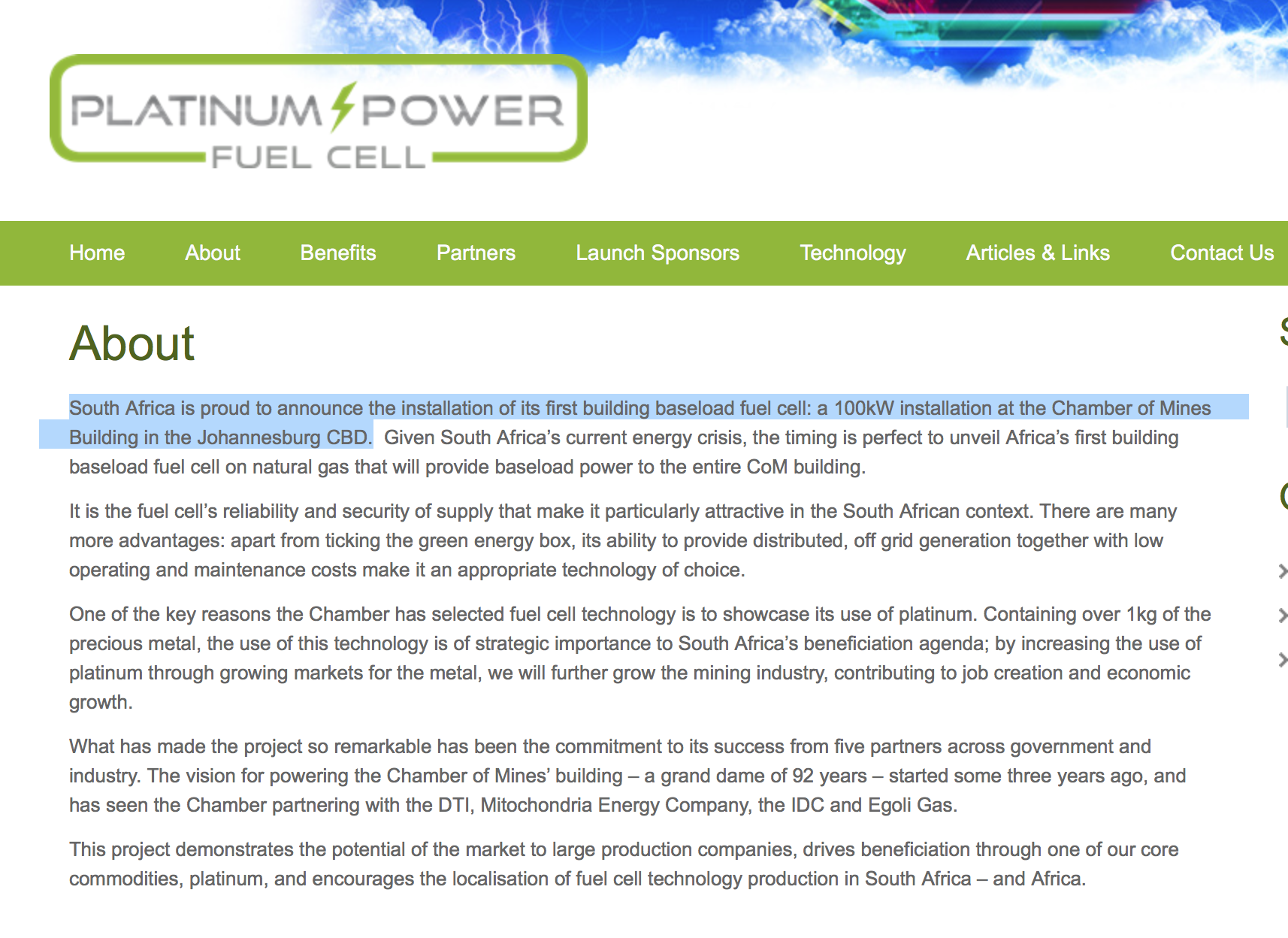 1st 100kw Fuel Cell In Johannesburg The