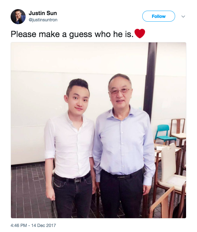 Justin Sun (Tron CEO) with Liu Chuanzhi (Lenovo founder)