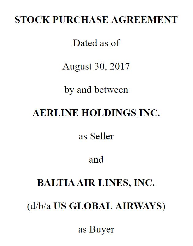 Baltia Air Lines Inc Blta 8 K Definitive Agreement Blta