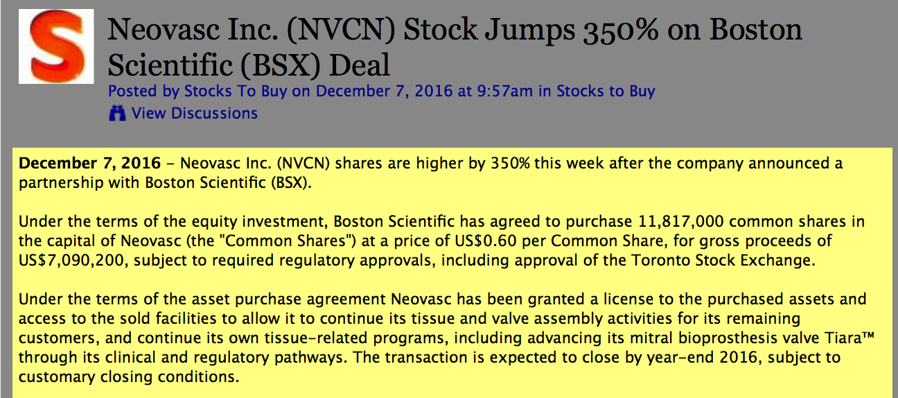 NVCN + BSX = 15% stake = +350% for stock