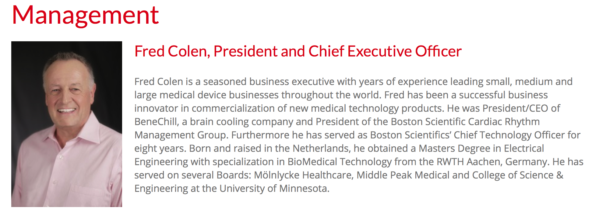 Fred Colen - President and CEO