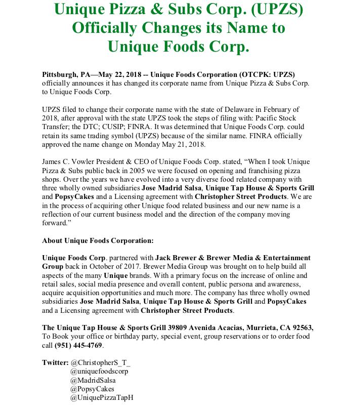 Unique Foods Corporation (UPZS): $UPZS announced name change news