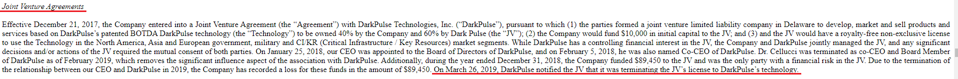 DarkPulse Technologies Terminates Agreement