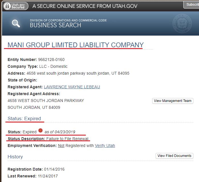 Mani Group LLC and MC Smart Controls don't exist
